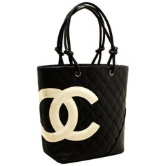 CHANEL Cambon Tote Small Shoulder Bag Black White Quilted Calfskin