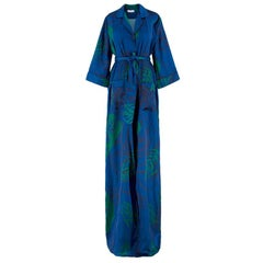 Borgo De Nor Blue Leaves Shirt Dress US 4