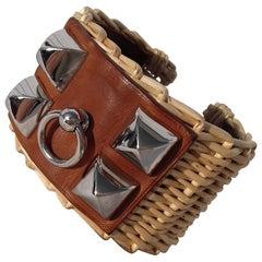 Hermès CDC Collier de Chien Bracelet Cuff Picnic Osier Wicker Line Phw S Ltd