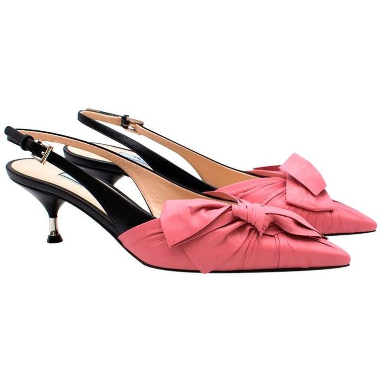 6f74bae0667 Prada Pink Bow Kitten Heel Slingback Sandals US 9 For Sale. Prada Kitten  Heels - Pink leather ...
