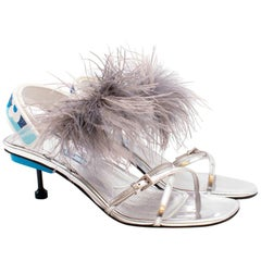 f2e9a4a29be Prada Powder Blue Patent Saffiano Leather Block Heel Slides Size 39 ...