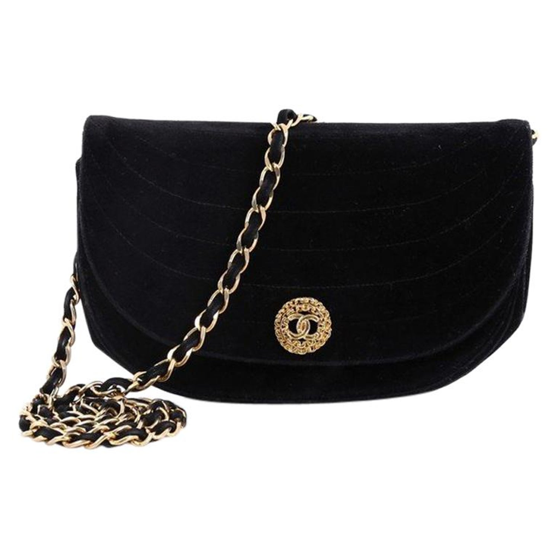 51ba627d4d9c3a Chanel Vintage Crescent Flap Bag Horizontal Quilted Velvet Medium For Sale  at 1stdibs