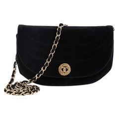 Chanel Vintage Crescent Flap Bag Horizontal Quilted Velvet Medium