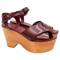 Celine Burgundy Wooden Wedges US 10