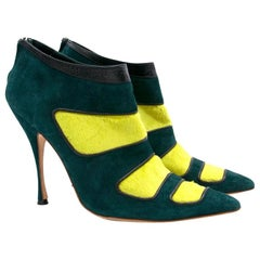 Manolo Blahnik Green Pony Hair Heels US 10