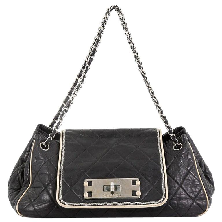 780c5767c6f3 Chanel East West Mademoiselle Accordion Flap Bag Quilted Lambskin Medium  For Sale at 1stdibs