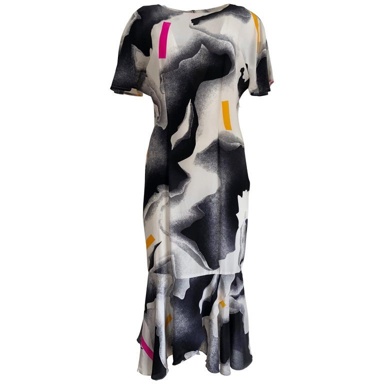 Silk crepe Flora Kung NWT cocktail black white neon mermaid long dress  For Sale