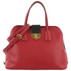 Prada Convertible Turnlock Flap Promenade Handbag Saffiano Leather Medium