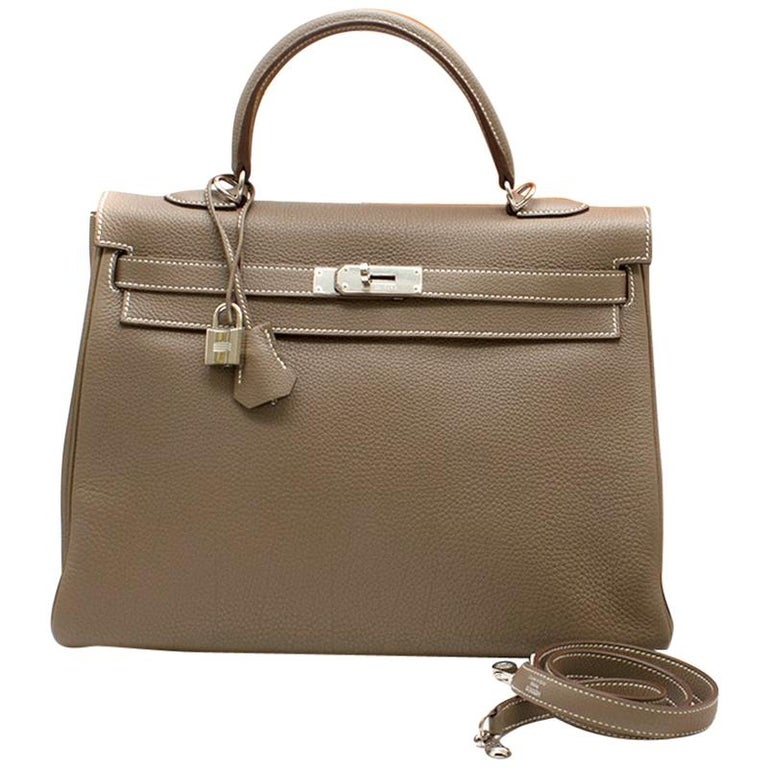 fc8776cc0e2 Hermes Kelly 35cm Etoupe Togo leather bag For Sale at 1stdibs