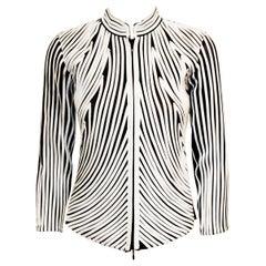 Alexandra Rosati White Cotton Applique on Black  Sheer Jacket