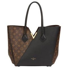 2017 Louis Vuitton Brown Monogram Coated Canvas & Black Calfskin Leather Kimono
