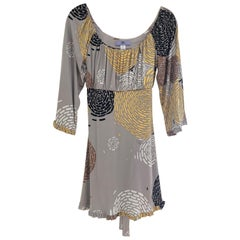 Silk jersey pearl gray floral peony printed dress from FLORA KUNG
