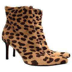 Christian Dior Leopard Print Ponyhair Ankle Boots US 10