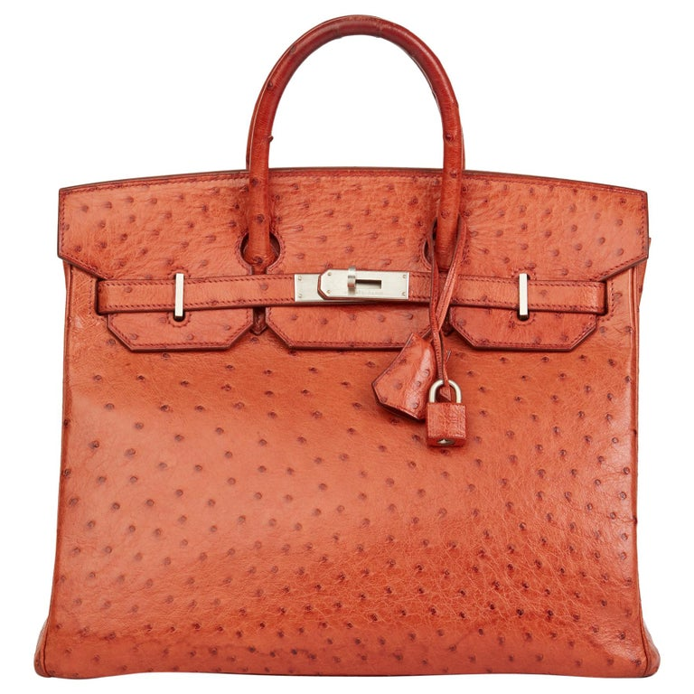 2000 Hermes Tangerine Ostrich Leather Birkin 32cm HAC For Sale