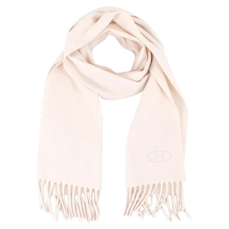 Hermes Cream Cashmere Scarf For Sale