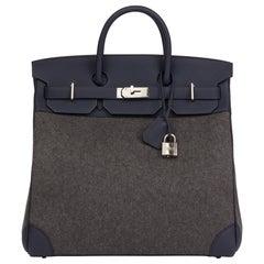 Hermes Blue Nuit Togo Leather & Gris Moyen Todoo Feutre Birkin 40cm HAC