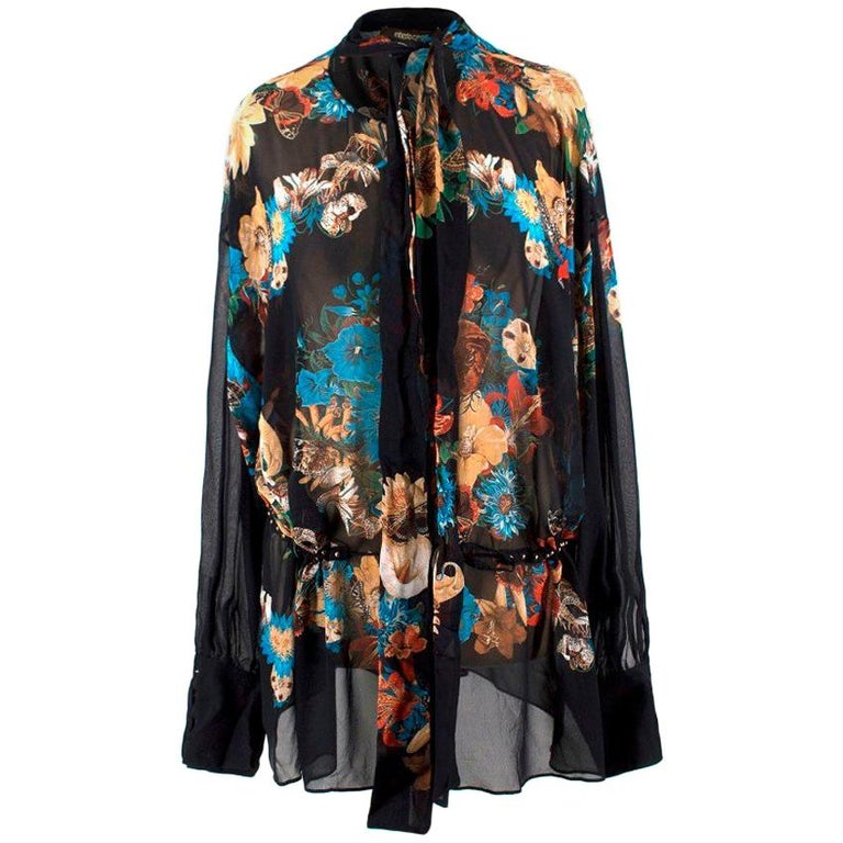 5df95e3952295 Roberto Cavalli Silk Sheer Floral Blouse US 12 For Sale at 1stdibs