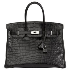 2014 Hermes Black Matte Alligator, Clemence & Box Calf Touch Birkin 35cm