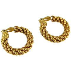 Yves Saint Laurent YSL Vintage Textured Hoop Earrings