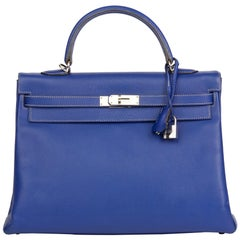 2011 Hermes Bleu Electric & Mykonos Epsom Candy Collection Kelly 35cm Retourne