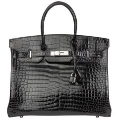 2003 Hermes Black Shiny Porosus Crocodile Leather Birkin 35cm