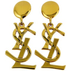 Yves Saint Laurent YSL Vintage Massive Iconic Logo Dangling Earrings
