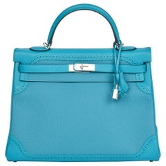 2014 Hermes Turquoise Togo & Swift Leather Ghillies Kelly 35cm Retourne