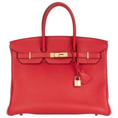 2012 Hermes Rouge Casaque Togo Leather Birkin 35cm