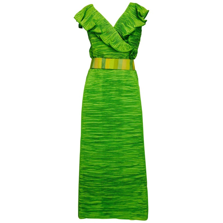 Sybil Connolly Dublin 2pc green pleated linen evening dress 1960s For Sale