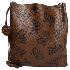 Bottega Veneta Brown Leather Embossed Woven Butterfly Messenger/Crossbody Bag