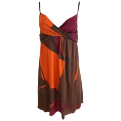 FLORA KUNG huge petal printed orange bronze fold-over spaghetti dress