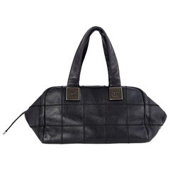 Chanel black Caviar leather OVERLOCK STITCHING Patchwork Bag