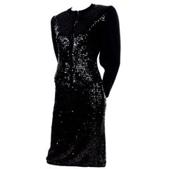 Vintage Yves Saint Laurent Evening Dress Alternative Black Skirt Suit W/ Sequins