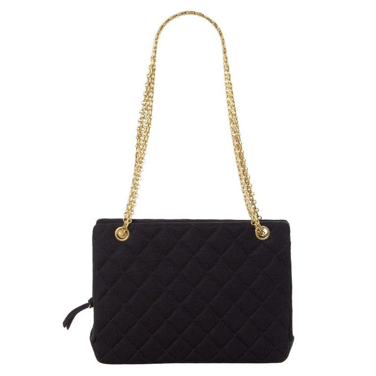 Chanel black quilted jersey VINTAGE Shoulder Bag