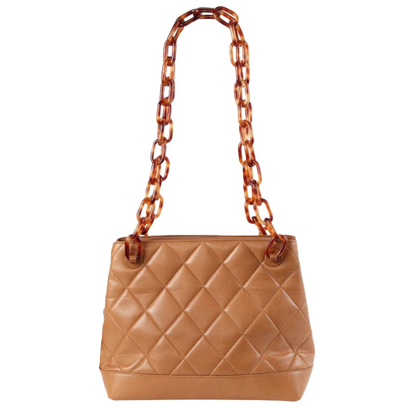 Chanel camel brown quilted leather VINTAGE TORTOISESHELL STRAP Shoulder Bag