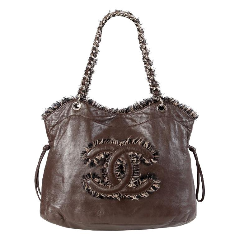 Chanel chocolate brown leather & BOUCLE LARGE SHOPPER Shoulder Bag For Sale