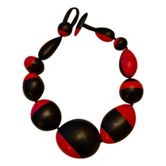 Monies Pink, Orange and Black Polyester Necklace