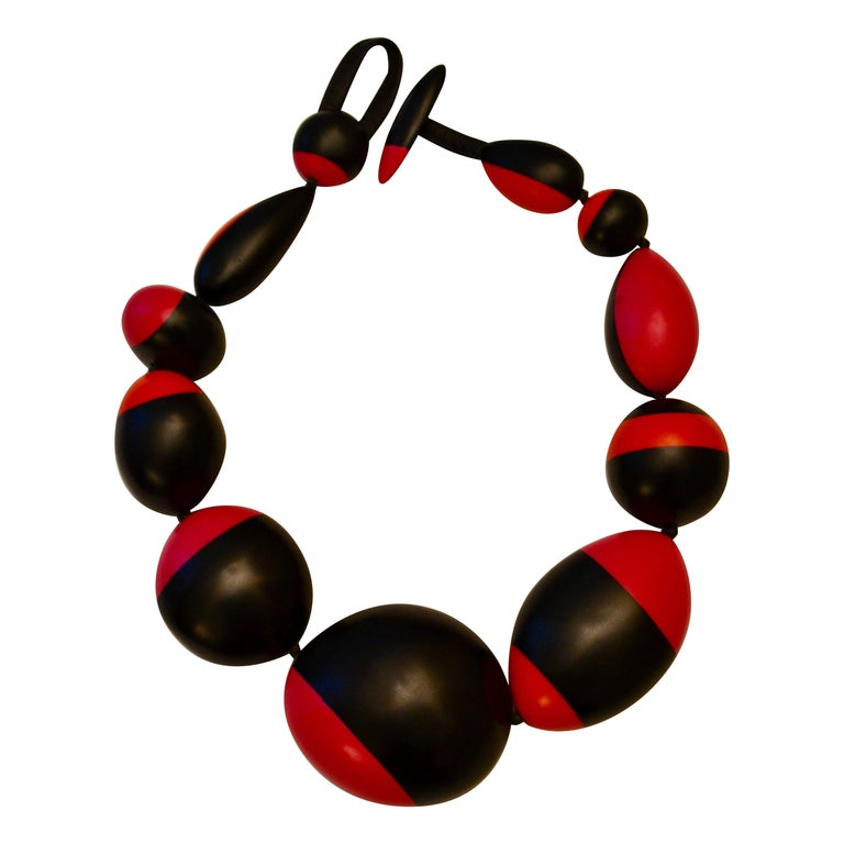 Monies Pink, Orange and Black Polyester Necklace For Sale