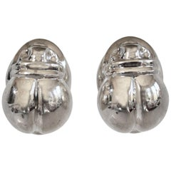 Patricia von Musulin Sterling Silver Scarab Clip Earrings