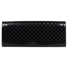 Gucci Black Patent Leather Microguccissima Monogram Broadway Clutch Bag