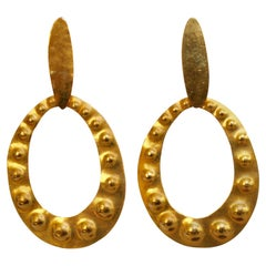 Herve van der Straeten Gilded Brass Embossed Clip Earrings