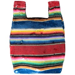 Ashish NWT Multi-Color Striped Sequined Bag rt. $809