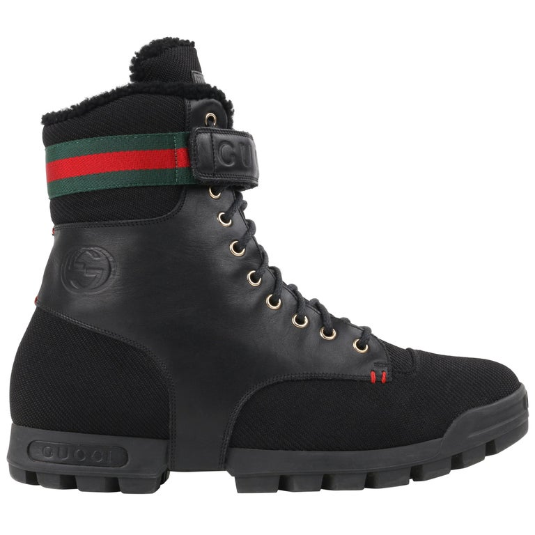 GUCCI Black Leather Signature Webbing Shearling Lined Combat Boots For Sale
