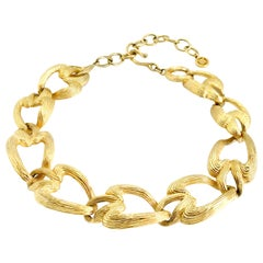 Givenchy 1980s Vintage Statement Chunky Gold Tone Necklace