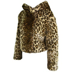 Krizia Vintage Faux Fur Leopard Animal Print Hooded Crop Coat Jacket, 1990s