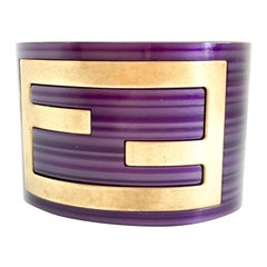 Fendi Purple Acrylic Cuff Bracelet