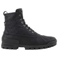 "GUCCI A/W 2011 ""Duck Boot"" GG Guccissima Monogram Leather Combat Work Boots"