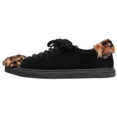 Mr & Mrs Italy Black Suede Mink Fur Leopard Detail Sneakers Sz 39