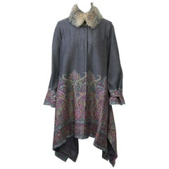 Etro Gray Wool/Paisley Coat with Handkerchief Hem