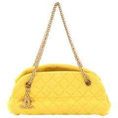 Chanel Just Mademoiselle Handbag Quilted Jersey Small